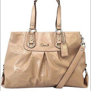 Authentic, Coach patent leather tan handbag